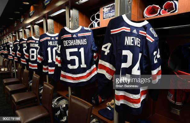 New York Rangers jerseys hang in the locker room prior to the 2018 Bridgestone NHL Winter Classic between the New York Rangers and the Buffalo Sabres...