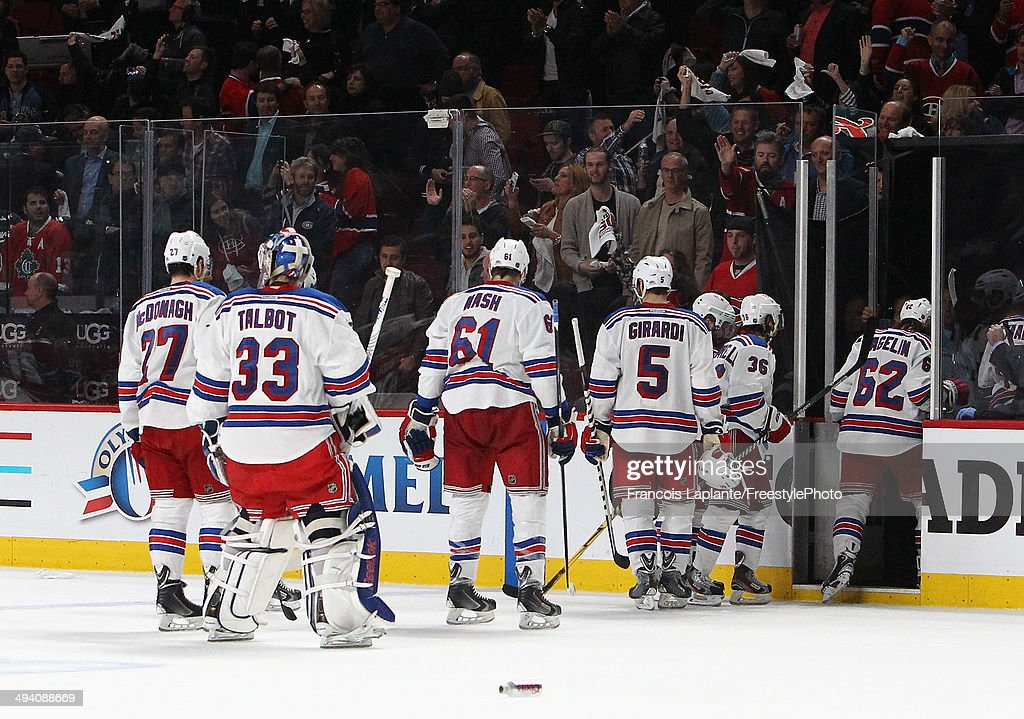 New York Rangers leave the ice after loosing to the Montreal Canadiens during Game Five of the Eastern Conference Final in the 2014 NHL Stanley Cup Playoffs at Bell Centre on May 27, 2014 in Montreal, Canada. Canadiens defeated the Rangers 7-4.