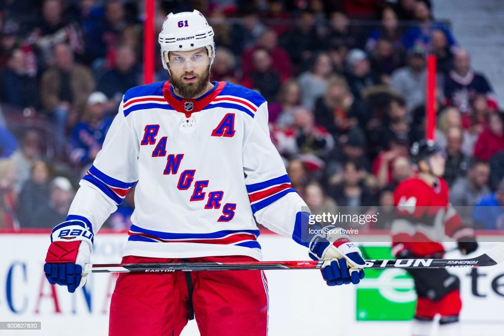 New York Rangers Left Wing Rick Nash (61) after a whistle during second period National Hockey League action between the New York Rangers and Ottawa Senators on February 17, 2018, at Canadian Tire Centre in Ottawa, ON, Canada.