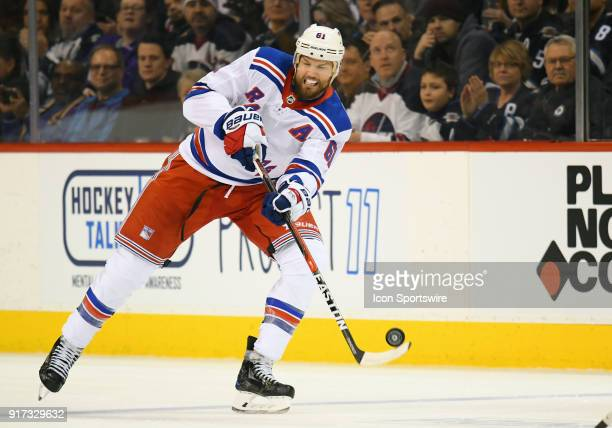 New York Rangers Left Wing Rick Nash makes a pass during a NHL game between the Winnipeg Jets and New York Rangers on February 11 2018 at Bell MTS...