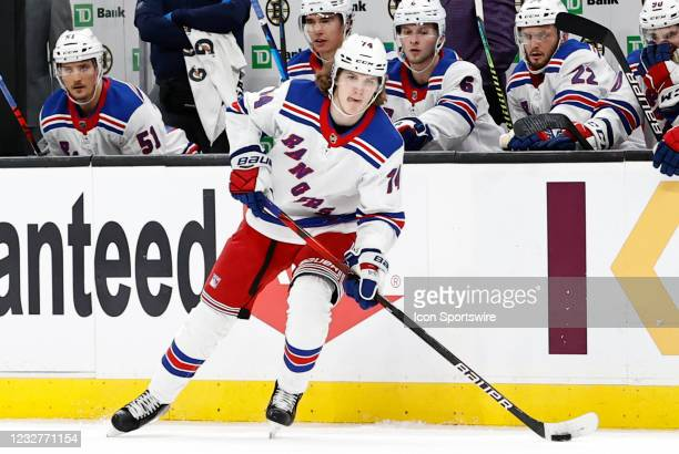 New York Rangers left wing Vitali Kravtsov looks to pass during a game between the Boston Bruins and the New York Rangers on May 8 at TD Garden in...
