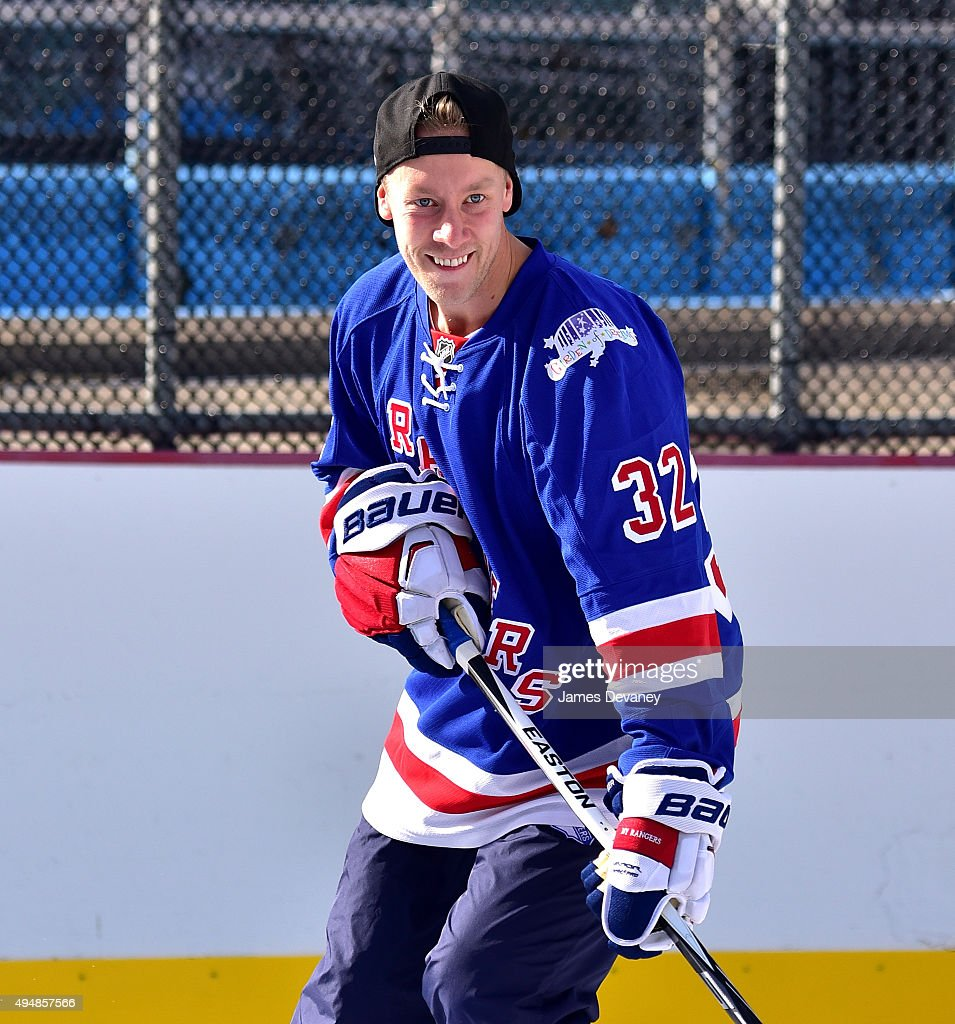 New York Rangers player Antti Raanta attends the New York Rangers and the Cast of IFCÕs Hockey Comedy Benders Face Off event at Lasker Rink on October 29, 2015 in New York City.