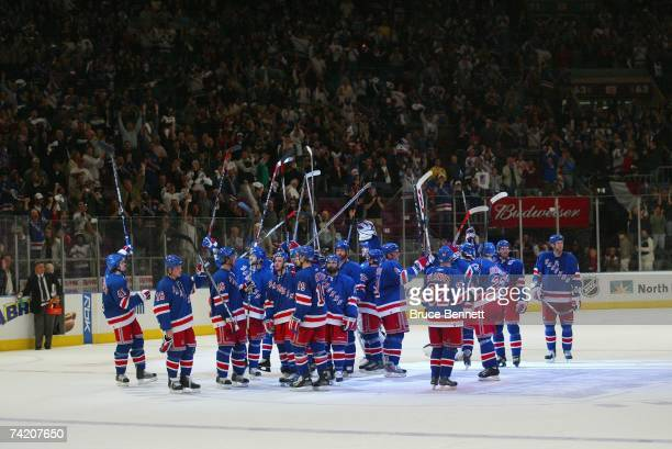 New York Rangers players acknowledge the crowd following the game against the Buffalo Sabres in Game Six of the 2007 Eastern Conference Semifinals on...
