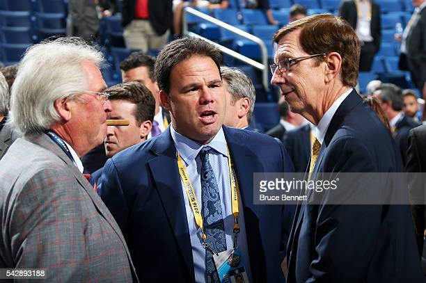 New York Rangers President Glen Sather New York Rangers General Manager Jeff Gorton and Nashville Predators General Manager David Poile attend round...
