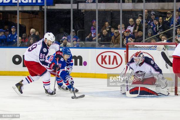 New York Rangers Right Wing Jesper Fast reacts from a rebound off of Columbus Blue Jackets Goalie Sergei Bobrovsky during the first period of a...