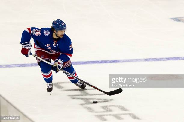 New York Rangers right wing Mats Zuccarello in action during the second period of game 3 of the first round of the 2017 Stanley Cup Playoffs between...