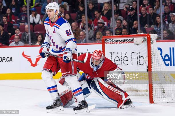 New York Rangers right wing Rick Nash blocks the vision of Montreal Canadiens goalie Carey Price during the third period of the NHL preseason game...
