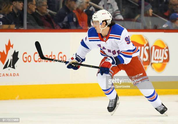 New York Rangers Right Wing Vinni Lettieri skates up ice during a NHL game between the Winnipeg Jets and New York Rangers on February 11 2018 at Bell...
