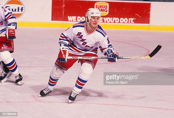 New York Rangers' winger Brian Mullen skates during a game at Madison Square Garden circa 1990's in New York New York