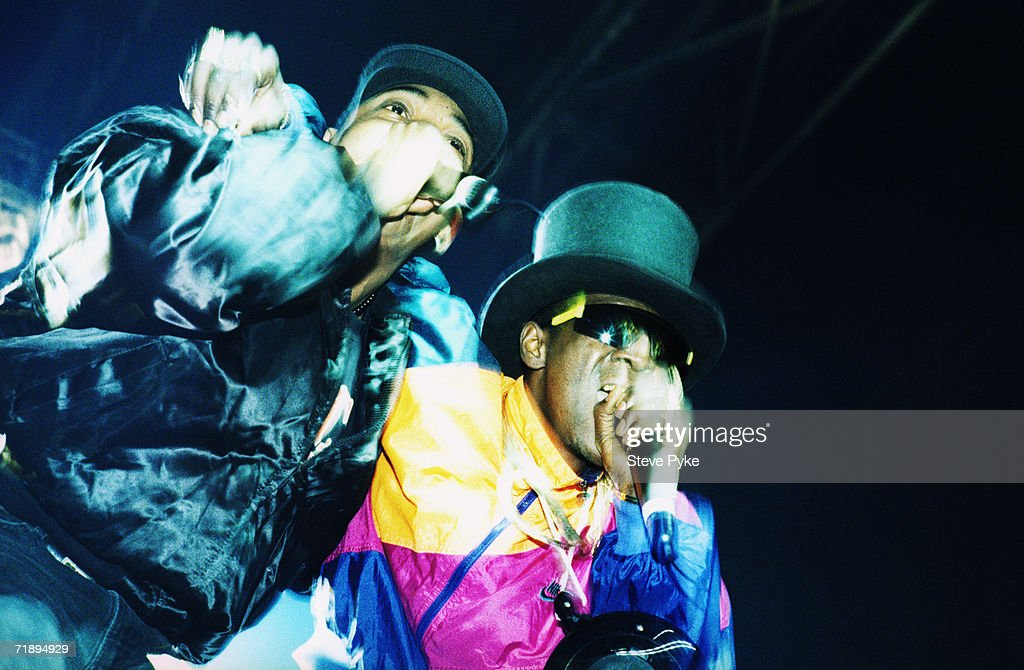 New York rapper Flavor Flav performing with a fellow member of hip hop group Public Enemy in Paris, February 1992.