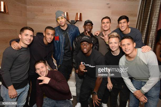 New York Red Bulls athletes pose with Red Bull athlete Miles Chamley-Watson attends the New York Red Bulls 2018 Jersey Launch at The Crown at 50...