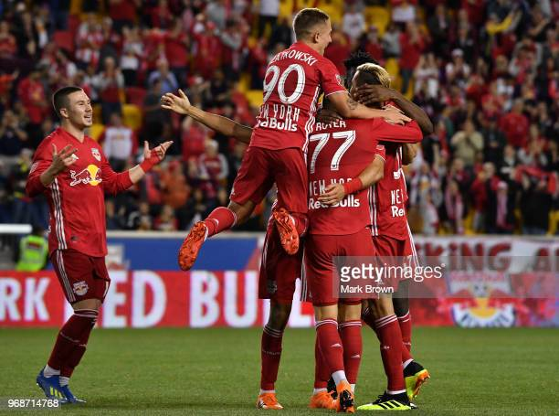 New York Red Bulls celebrate a goal of Aaron Long of New York Red Bulls against the New York City FC in the second half during the fourth round match...