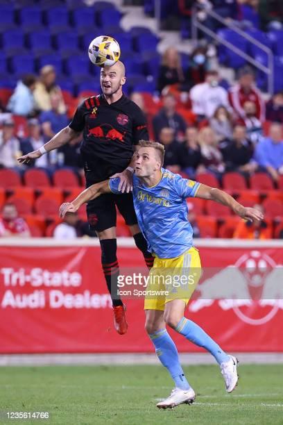 New York Red Bulls defender Andrew Gutman heads the ball against Philadelphia Union forward Kacper Przybylko during the second half of the Major...