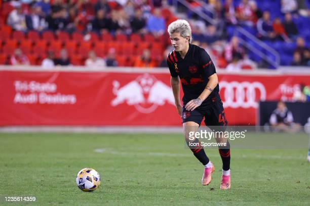 New York Red Bulls defender John Tolkin controls the ball during the second half of the Major League Soccer game between the New York Red Bulls and...