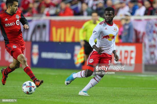 New York Red Bulls defender Kemar Lawrence during the first half of the MLS Cup Playoff game between the New York Red Bulls and Toronto FC on October...