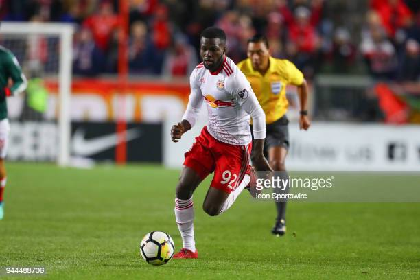 New York Red Bulls defender Kemar Lawrence during the second half of the CONCACAF Champions League game between Chivas de Guadalajara at NY Red Bulls...