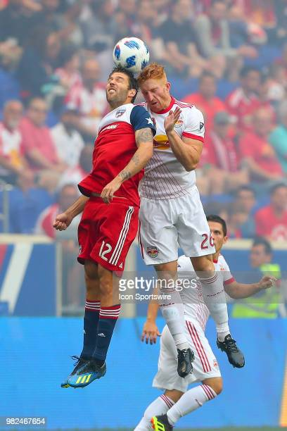 New York Red Bulls defender Tim Parker goes up for a headball against FC Dallas midfielder Ryan Hollingshead during the first half of the Major...