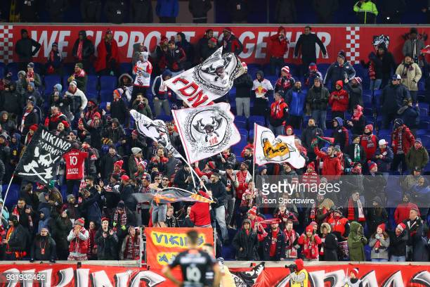 New York Red Bulls fans during the second half of the CONCACAF Champions League Quarterfinal match between the New York Red Bulls and Club Tijuana on...