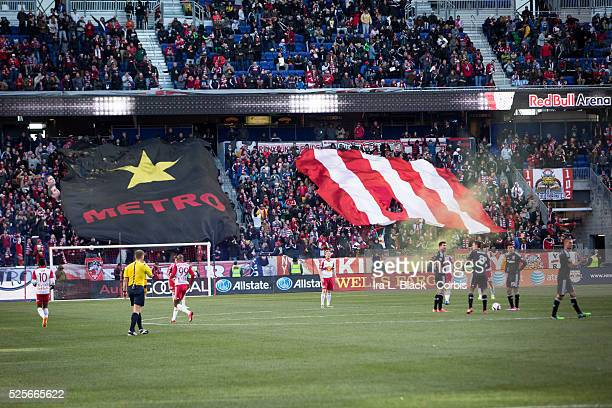 New York Red Bulls fans showcase their heritage of the NY Red Bulls with the Metro Stars banner during the match to commemorate the 20 year...