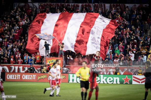 New York Red Bulls fans waving flags after Daniel Royer of New York Red Bulls scored a goal during the Audi MLS Cup Playoff match between New York...