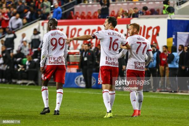 New York Red Bulls forward Bradley WrightPhillips along with teammates New York Red Bulls midfielder Sacha Kljestan and New York Red Bulls midfielder...