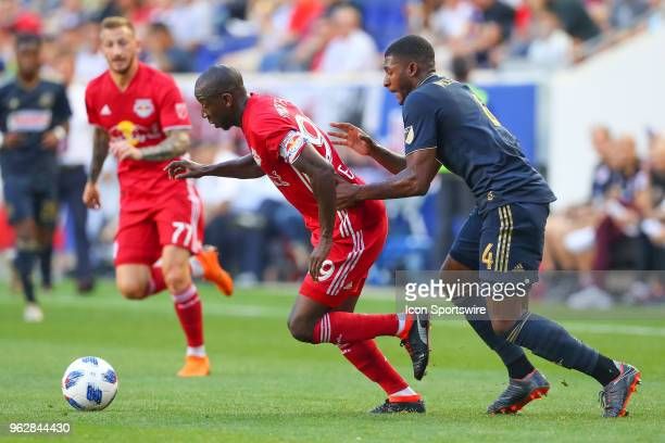 New York Red Bulls forward Bradley WrightPhillips battles Philadelphia Union defender Mark McKenzie during the first half of the Major League Soccer...