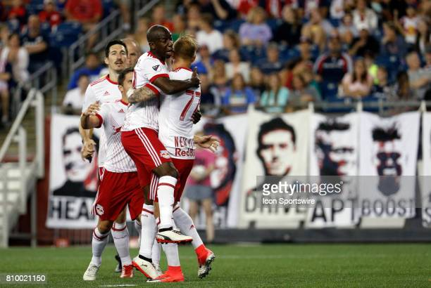 New York Red Bulls forward Bradley WrightPhillips congratulates New York Red Bulls midfielder Daniel Royer on his penalty kick goal during a regular...