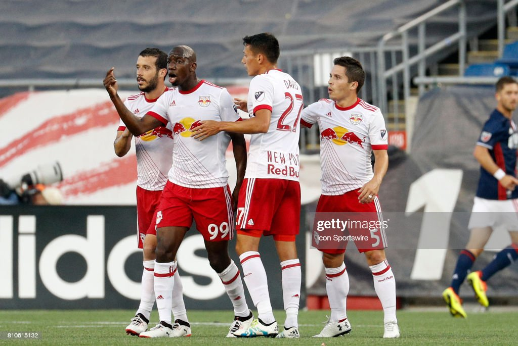 New York Red Bulls forward Bradley Wright-Phillips (99) reacts to tying the game at 1-1 during a regular season MLS match between the New England Revolution and New York Red Bulls on July 5, 2017, at Gillette Stadium in Foxborough, Massachusetts. The Red Bulls defeated the Revolution 3-2.