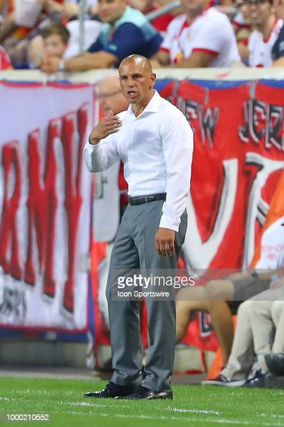 New York Red Bulls Head Coach Chris Armas during the second half of the Major League Soccer game between Sporting Kansas City and the New York Red...