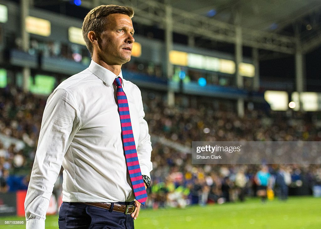 New York Red Bulls head coach Jesse Marsh is ejected from the game during Los Angeles Galaxy's MLS match against the New York Red Bulls at the StubHub Center on August 7, 2016 in Carson, California. The match ended 2-2