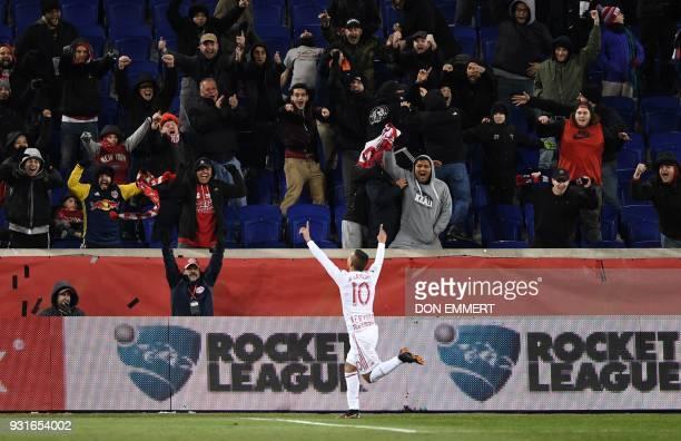 TOPSHOT New York Red Bulls Kaku celebrates his goal against Club Tijuana during the New York Red Bulls vs Club Tijuana CONCACAF Champions League...