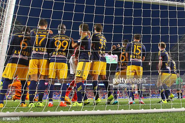 New York Red Bulls line up on their goal line for a Benfica free kick from the 6 yard box during the first half of the game between the New York Red...