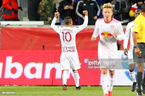 New York Red Bulls midfielder Alejandro Romero Gamarra celebrates after scoring during the second half of the CONCACAF Champions League Quarterfinal...