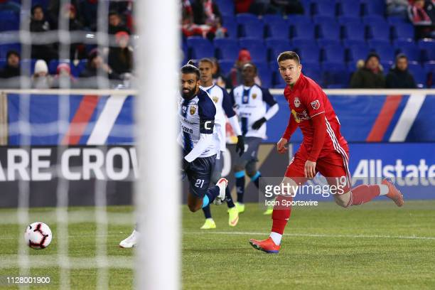 New York Red Bulls midfielder Alex Muyl controls the ball during the first half of the CONCACAF Champions League Round of 16 Soccer game between the...