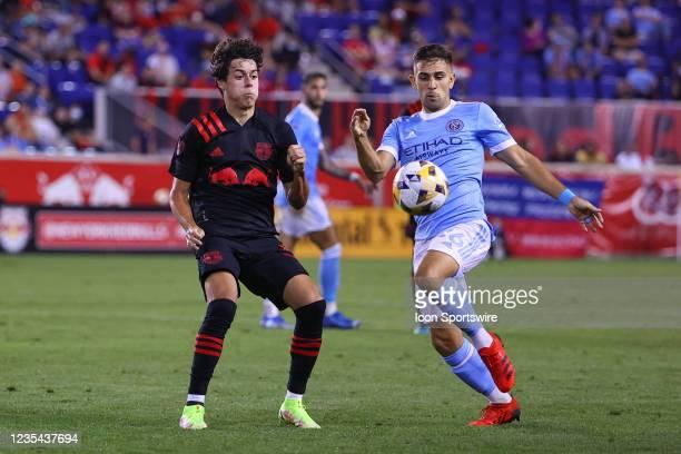 New York Red Bulls midfielder Caden Clark battles New York City midfielder Nicolas Acevedo during the second half of the Major League Soccer game...