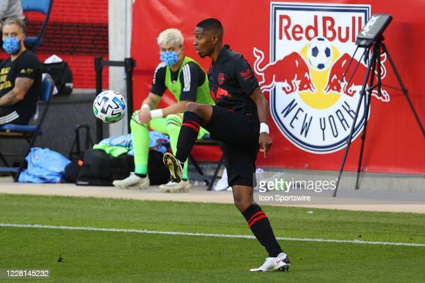 New York Red Bulls midfielder Cristian Casseres Jr controls the ball during the first half of the Major League Soccer game New York Red Bulls and the...