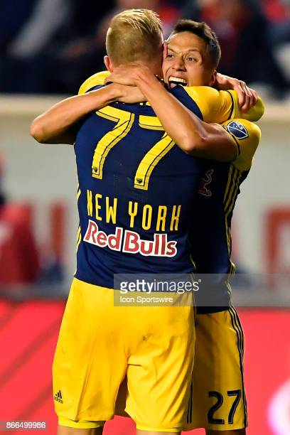 New York Red Bulls midfielder Daniel Royer and New York Red Bulls midfielder Sean Davis embrace in celebration after New York Red Bulls midfielder...
