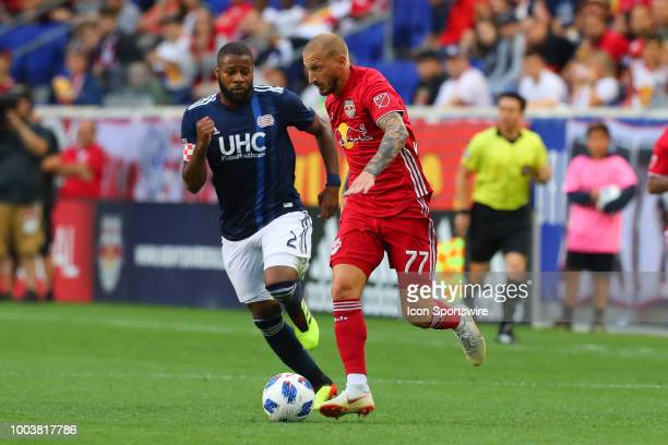 New York Red Bulls midfielder Daniel Royer controls the ball during the first half of the Major League Soccer game between the New York Red Bulls and...