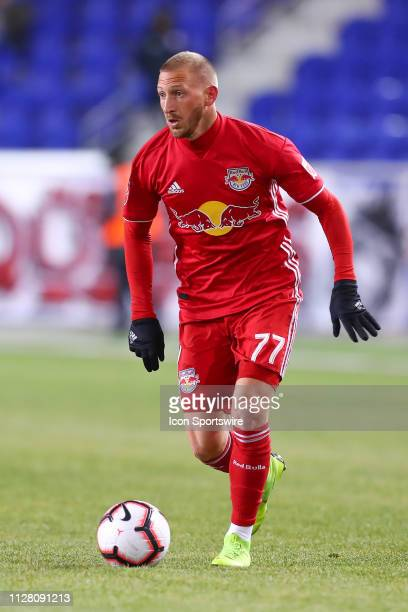 New York Red Bulls midfielder Daniel Royer controls the ball during the first half of the CONCACAF Champions League Round of 16 Soccer game between...