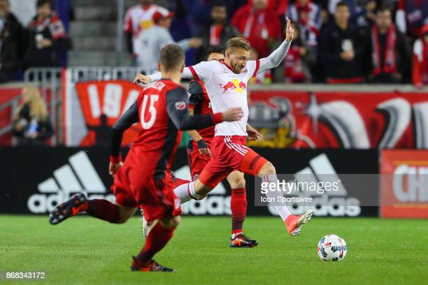 New York Red Bulls midfielder Daniel Royer during the first half of the MLS Cup Playoff game between the New York Red Bulls and Toronto FC on October...