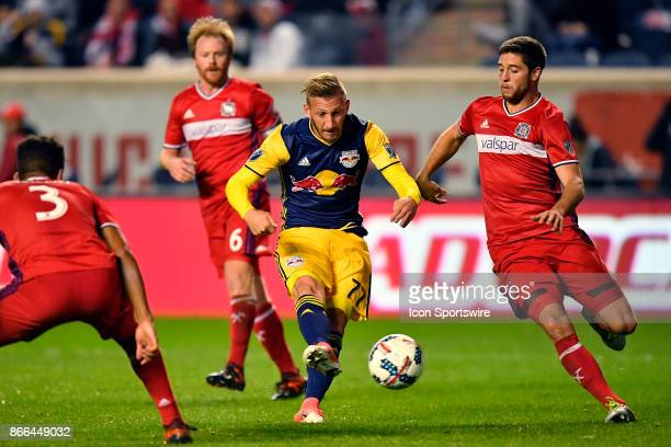 New York Red Bulls midfielder Daniel Royer kicks the ball to score a goal during the MLS Cup Playoff match between the New York Red Bulls and the...