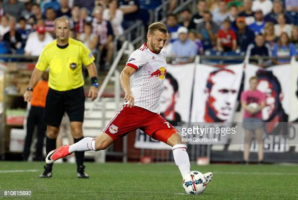New York Red Bulls midfielder Daniel Royer takes his penalty kick during a regular season MLS match between the New England Revolution and New York...