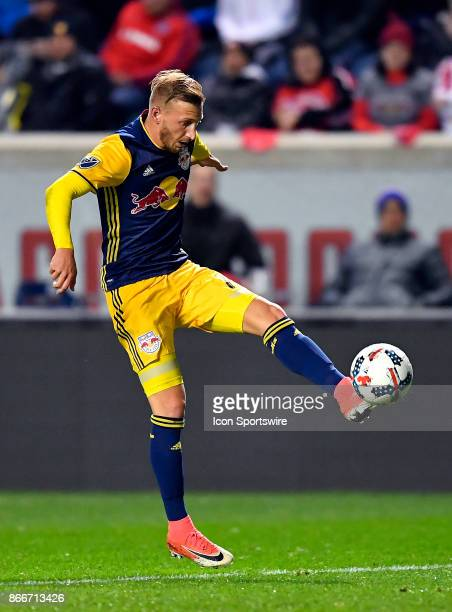 New York Red Bulls midfielder Daniel Royer traps the ball with his foot during the MLS Cup Playoff match between the New York Red Bulls and the...
