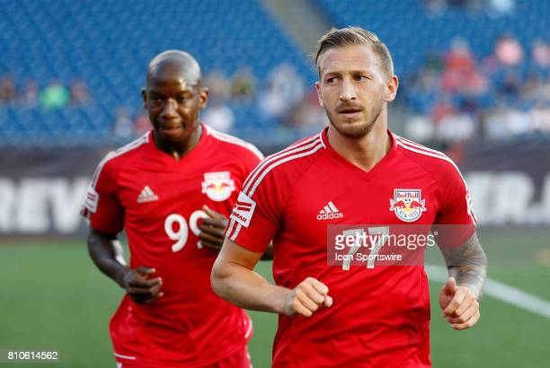 New York Red Bulls midfielder Daniel Royer warms up before a regular season MLS match between the New England Revolution and New York Red Bulls on...