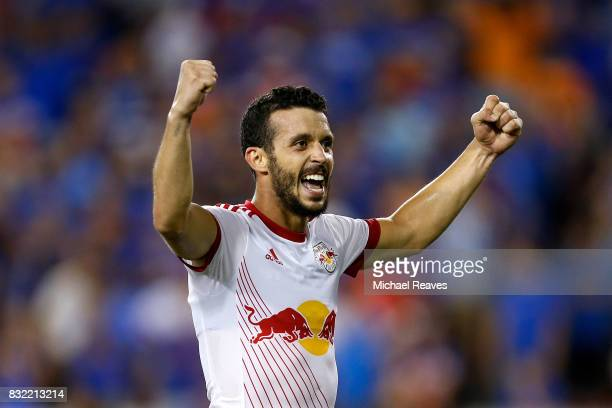 New York Red Bulls midfielder Felipe celebrates after defeating FC Cincinnati during the semifinal match of the 2017 Lamar Hunt US Open Cup at...