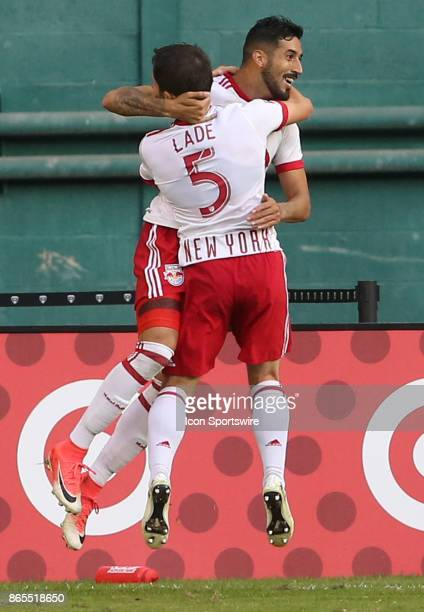 New York Red Bulls midfielder Gonzalo Veron celebrates scoring with defender Connor Lade during DC United's final MLS match at RFK Stadium between DC...