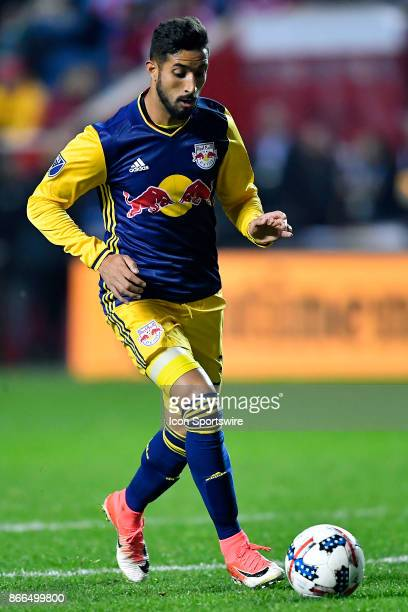 New York Red Bulls midfielder Gonzalo Veron dribbles with the ball during the MLS Cup Playoff match between the New York Red Bulls and the Chicago...