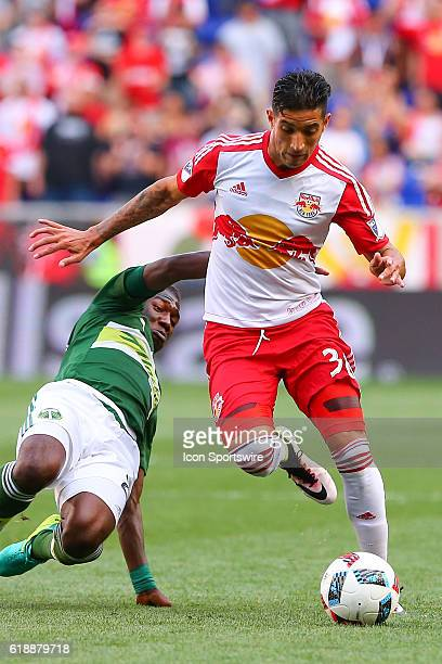 New York Red Bulls midfielder Gonzalo Veron during the first half of the game between the New York Red Bulls and the Portland Timbers played at Red...