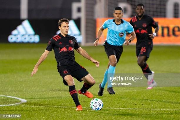 New York Red Bulls Midfielder Jared Stroud looks to pass the ball during the first half of a Major League Soccer match between the New York Red Bulls...