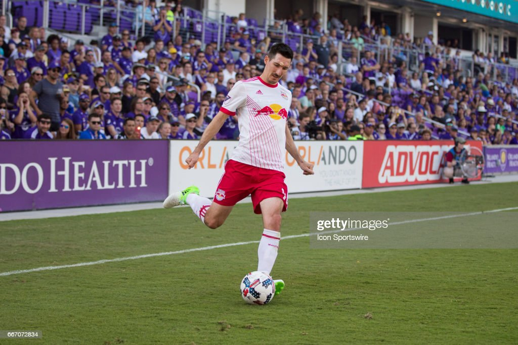 New York Red Bulls midfielder Sacha Kljestan (16) during the soccer match between the Orlando City Lions and the NY Red Bulls on April 9, 2017 at Orlando City Stadium in Orlando, FL.
